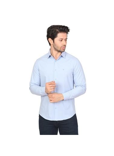 White Stone Pamuklu Regular Fit Uzun Kollu Klasik Gömlek Mavi Mavi